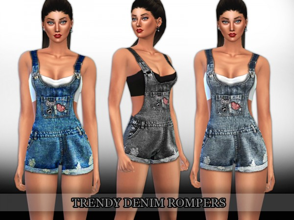 The Sims Resource: Trendy Denim Rompers by Saliwa