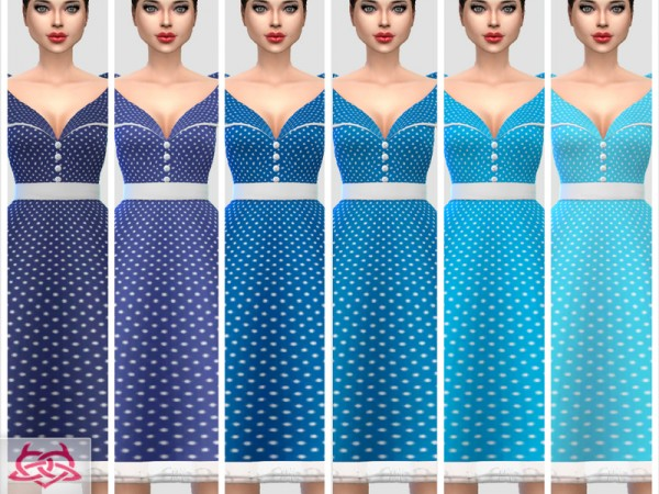 The Sims Resource: Paloma dress polka dots by Colores Urbanos