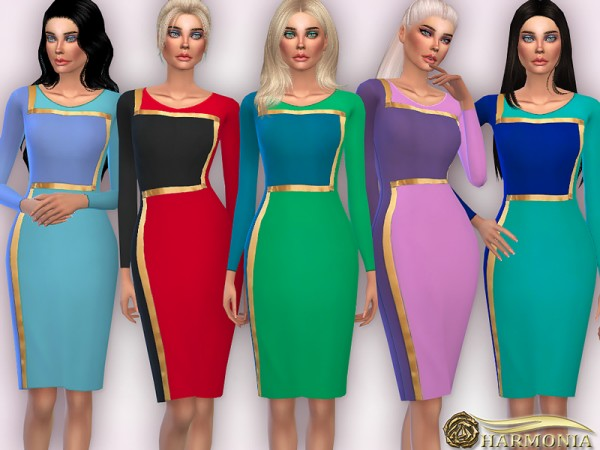 The Sims Resource: Colour Block Pencil Dress by Harmonia