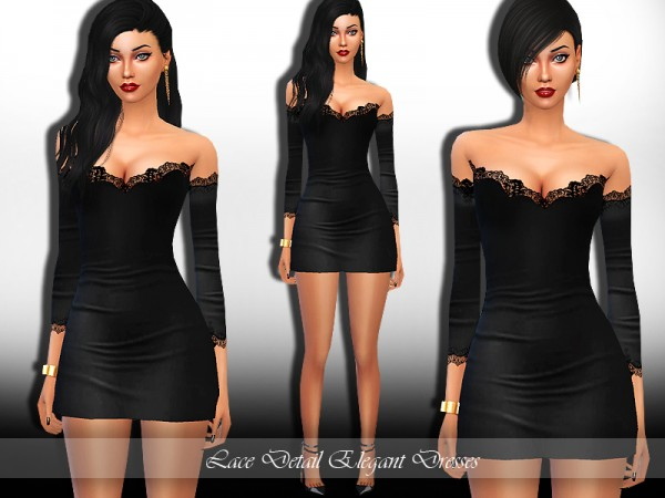 The Sims Resource: Lace Detail Elegant Dress by saliwa
