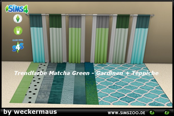 Blackys Sims 4 Zoo: Trend color green curtains and rugs by weckermaus