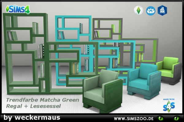 Blackys Sims 4 Zoo: Trend color green shelves and bookcases by weckermaus