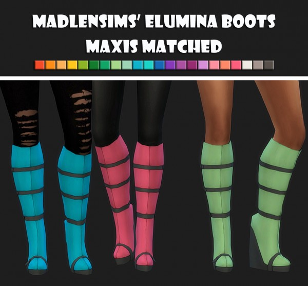 Simsworkshop: Madlens Elumina Boots recolored by Maimouth