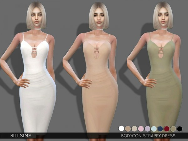 The Sims Resource: Bodycon Strappy Dress by BillSims