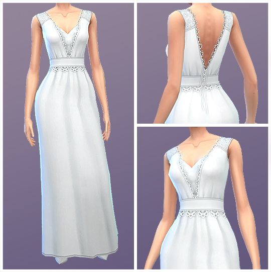 Simsworkshop: Simple Wedding Dress by BrambleFinch