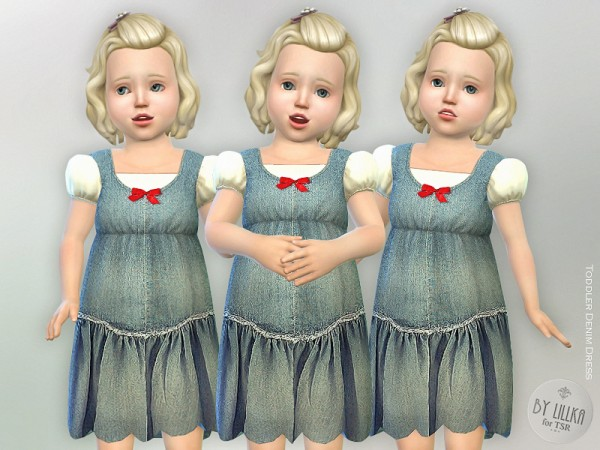The Sims Resource: Toddler Denim Dress by lillka
