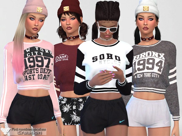 The Sims Resource: Athletic Sweatshirt Collection 02 by Pinkzombiecupcakes