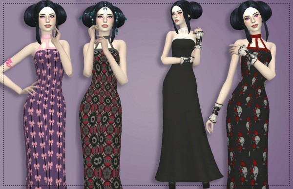 Simsworkshop: Gloomy Nights Gown by Annabellee25