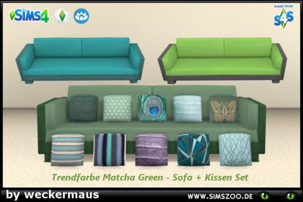 Blackys Sims 4 Zoo: Trend color Matcha Green sofa and cushion set