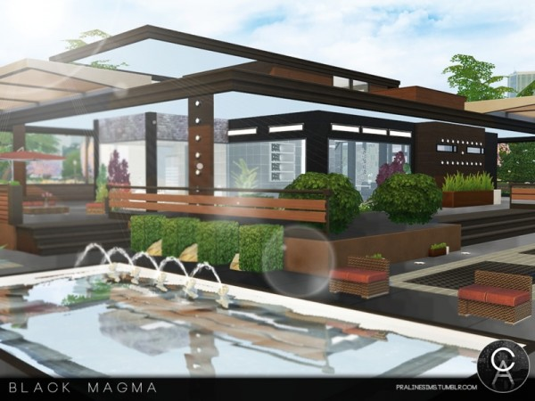The Sims Resource: Black Magma house by Pralinesims