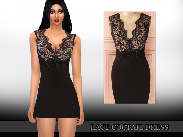 The Sims Resource: Lace Coctail Dress by Saliwa