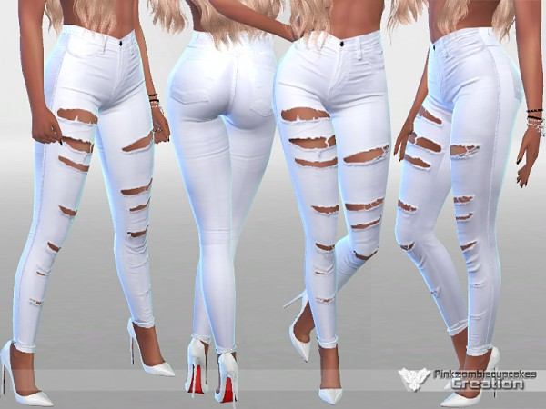 The Sims Resource: White Ripped Summer Jeans by Pinkzombiecupcakes