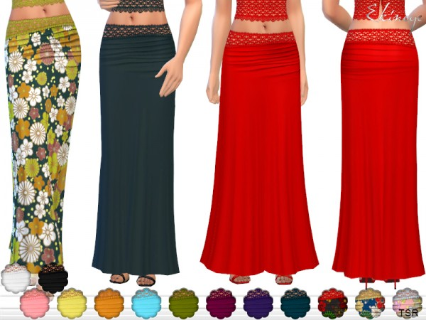 The Sims Resource: Crochet Detail Maxi Skirt by ekinege