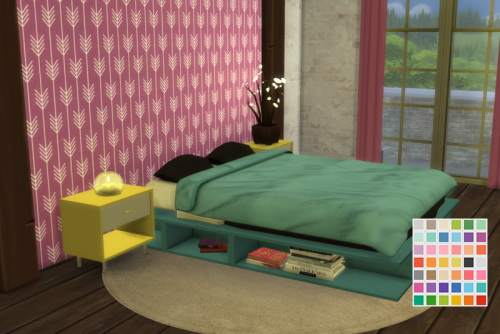 Chillis Sims: Rustic Bedroom in Eversims Colors