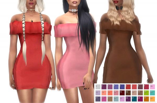 Kenzar Sims: VittlerUniverse Ruffle Off Shoulder Mini Dress Recolor