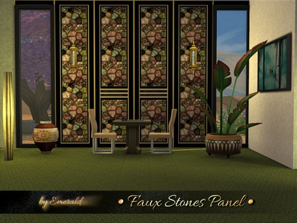 The Sims Resource: Faux Stones Panel by emerald