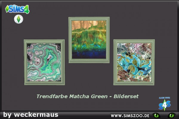 Blackys Sims 4 Zoo: Trend color Matcha Green paintings 2