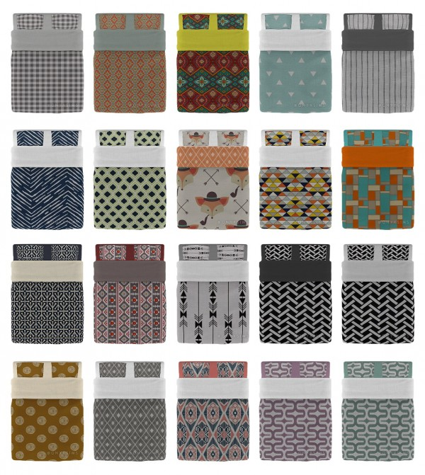 Onyx Sims Neutral Double Bedding Collection Sims 4