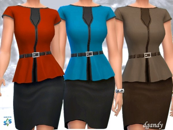 The Sims Resource: Peplum Dress V1 by dgandy