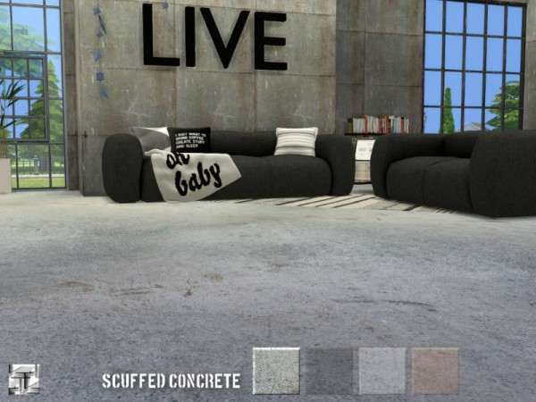 The Sims Resource: Scuffed Concrete Floor by .Torque