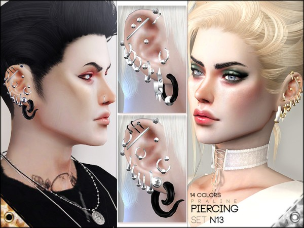 The Sims Resource: Piercing Set N13 by Pralinesims