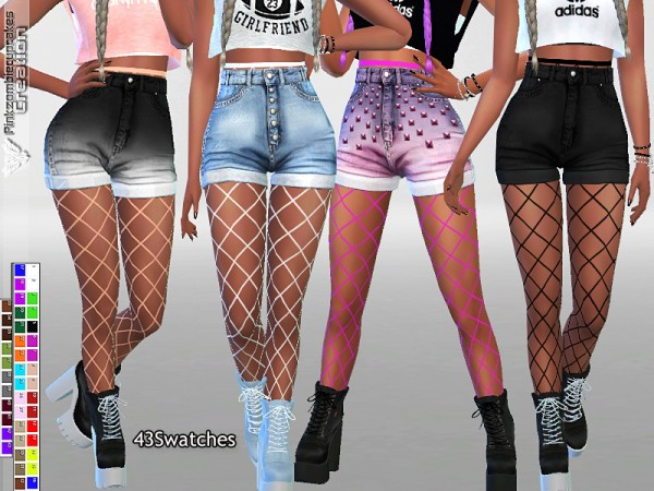 The Sims Resource: Fishnet Tights Accessory for Jeans and Shorts by Pinkzombiecupcakes