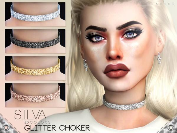 The Sims Resource: Silva Glitter Choker by Pralinesims