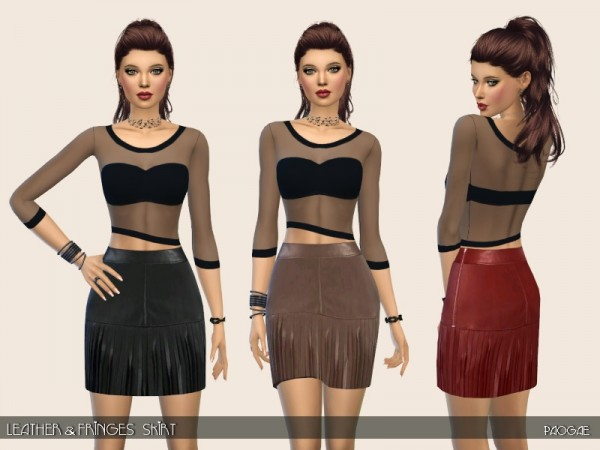 The Sims Resource: Leather and Fringes Skirt by Paogae