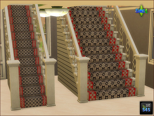 Arte Della Vita: 4 Sets of four different colored stair carpets and rods