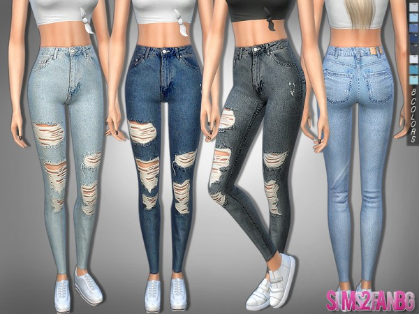 The Sims Resource: 322   Ripped Skinny High Jeans by sims2fanbg
