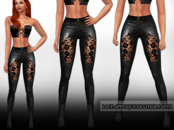 The Sims Resource Lace Applique Leather Pants By Saliwa