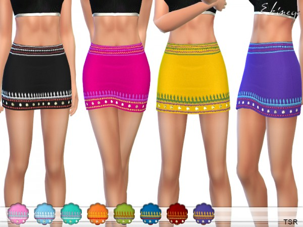 The Sims Resource: Embroidered Mini Skirt by ekinege
