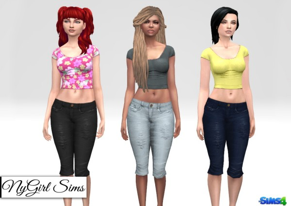NY Girl Sims: Distressed Denim Capri