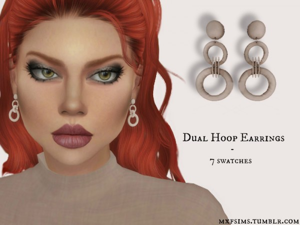 The Sims Resource: Dual Hoop Earrings by mxfsims