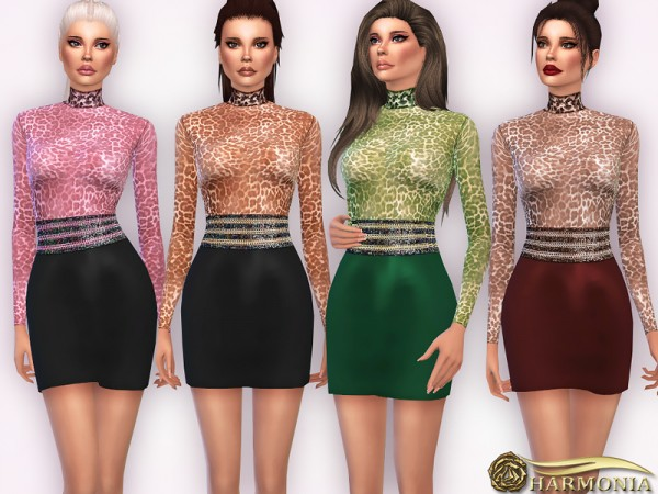The Sims Resource: Turtle Neck Bodysuit With Leather Skirt by Harmonia