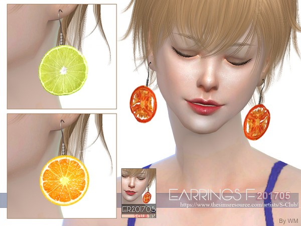 The Sims Resource: Earrings F 201705 by S Club