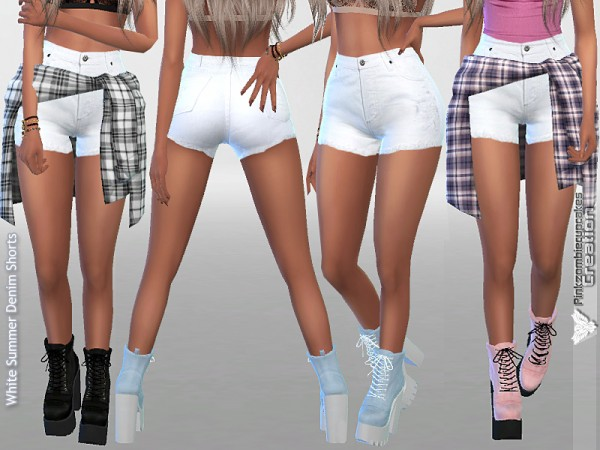 The Sims Resource: White Summer Denim Shorts by Pinkzombiecupcakes • Sims 4 Downloads