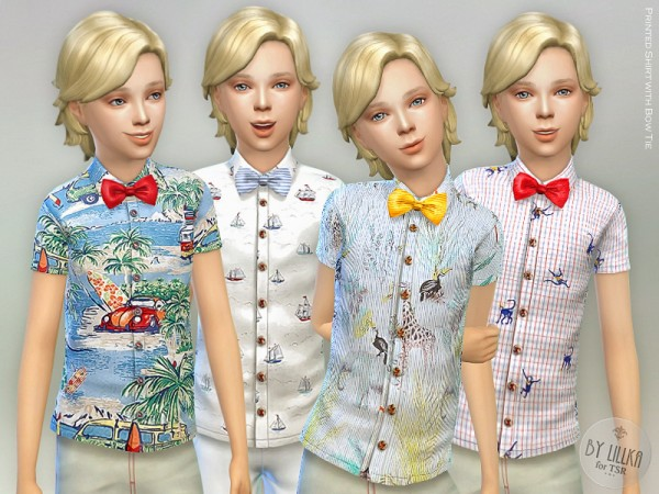 The Sims Resource: Printed Shirt with Bow Tie by lillka