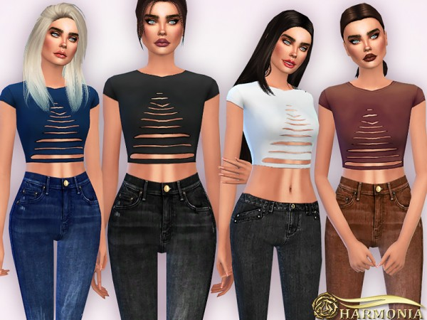 The Sims Resource: Ripped Shortsleeve Crop T Shirt by Harmonia