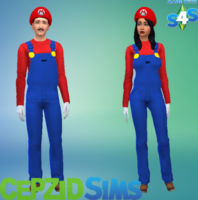 Simsworkshop: Mario Overall Outfits and Hats by cepzid