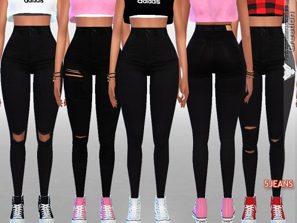 The Sims Resource High Rise Black Denim By Pinkzombiecupcakes Sims 4 Downloads