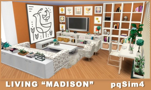 Pqsims4 living madison sims 4 downloads for Sims 4 living room ideas