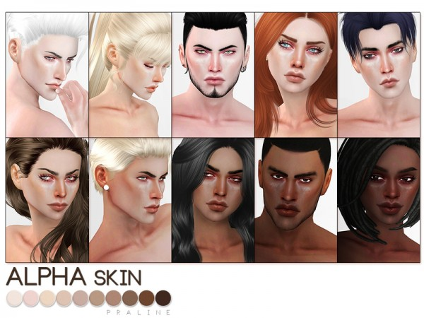 The Sims Resource: Alpha Skin by Pralinesims