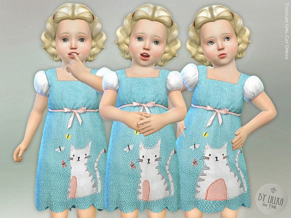 The Sims Resource: Toddler Girl Cat Dress by lillka