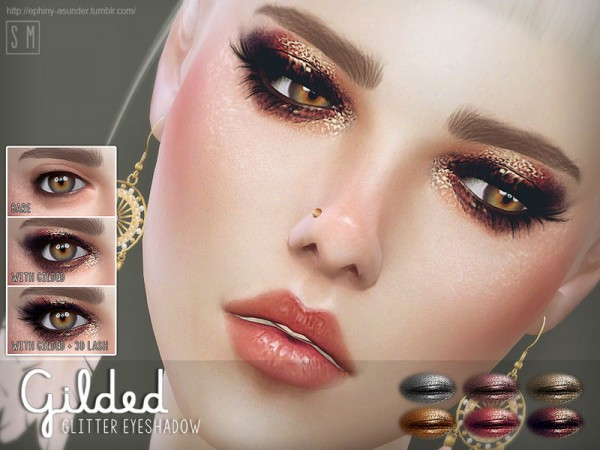 The Sims Resource: Gilded Glitter Eyeshadow by Screaming Mustard