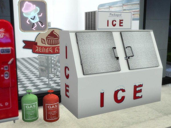 Sims 4 Designs: Cyclonesues Gas Station Stuff and Outdoor Ice Vending Machine