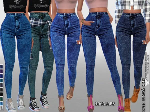 The Sims Resource: High Waisted Dark Denim Jeggings by Pinkzombiecupcakes