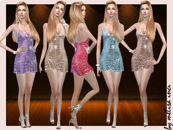 The Sims Resource: Sequin Spaghetti Strap Dress by melisa inci