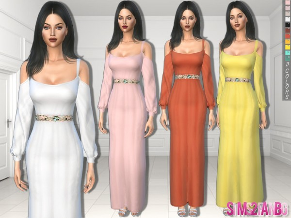The Sims Resource: 325   Dress With Open Sleeves and Belt by sims2fanbg