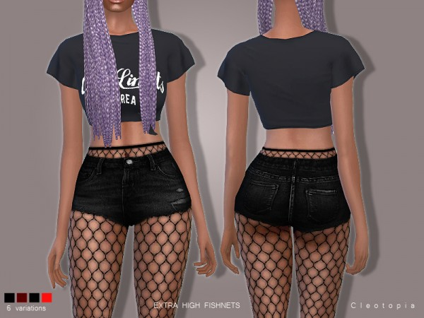 The Sims Resource: Set78  High Waisted Fishnet Tights by Cleotopia